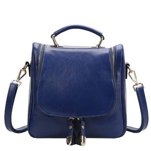 Dissa Q0424 Damen Leder Handtaschen Top Handle Satchel Tote Taschen Schultertaschen Blau