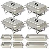 Vislone Set da 4 Scaldavivande in Acciaio Inossidabile Inox Contenitore Vassoi di Riscaldamento