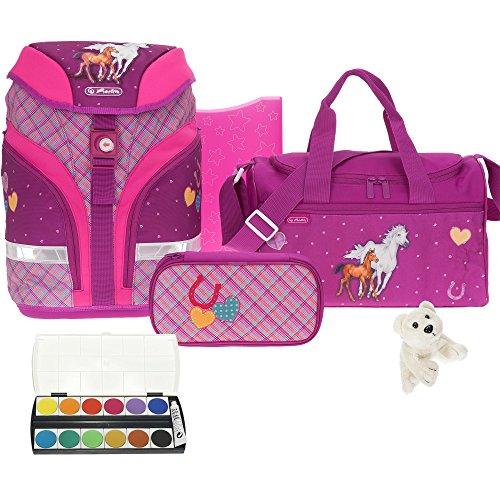 6 Teile HERLITZ Motion Schulrucksack Premium Set Ranzen höhenverstellbar m. Sporttasche ek (Spirit-Pink 39)