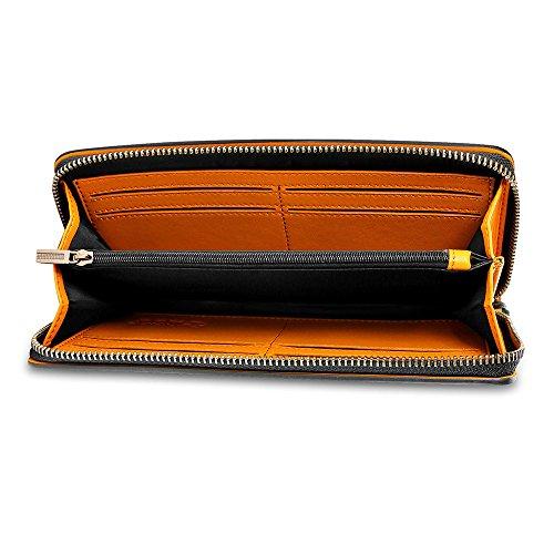 Eug vacchetta cartella ufficio borsa viaggio in pelle documento borsetta blu navy Briefcase (Navy Blue) 46 x 15 x 36 cm Wallet (Black)