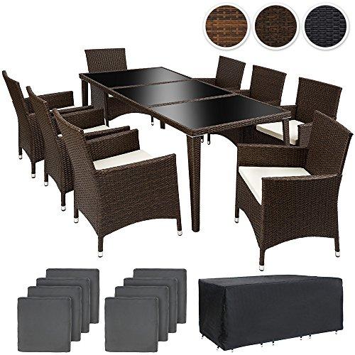 TecTake Conjunto muebles de jardín en aluminio y poly ratan 8+1 con set de fundas intercambiables + Protección contra lluvia, tornillos de acero inoxidable - disponible en diferentes colores - (Antiguo Marrón | No. 401989)