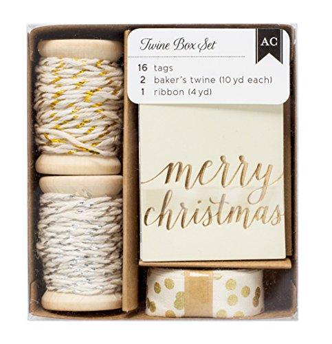 American Crafts Twine Boxes-Gold & Silver Tags, Twine, Ribbon - American Crafts Ribbon Box