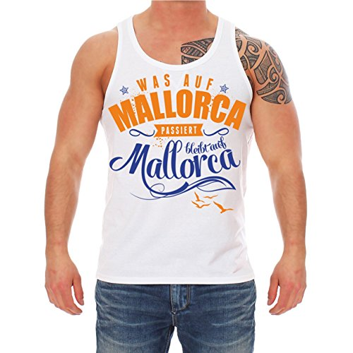 Männer und Herren Trägershirt Was auf Mallorca passiert BLEIBT AUF MALLORCA MALLE Weiß