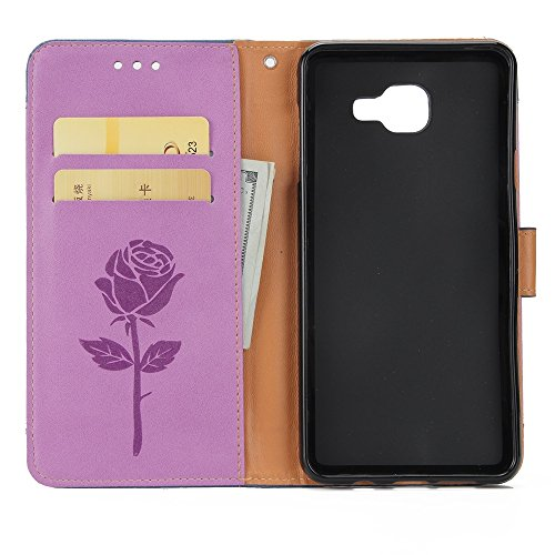 Dual Color Matching Premium PU Leder Flip Stand Case Cover mit Card Cash Slots und Lanyard für Samsung Galaxy A320 ( Color : Gold ) Purple