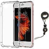 Coque iPhone 7 Transparent avec Collier Lanyard, Bidear [Souple et souple] TPU Silicone Résistant aux chocs Coussin d'air Cover Bumper Case Pour Apple iPhone 7 -4.7 Pouces(Transparent)