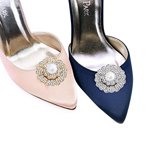 ElegantPark 2 Stück Schuhclips Perlen Strass Blumen Hochzeit Partei Accessiories AZ Silber