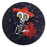 Use7 Day of The Dead Wanduhr mit Totenkopf-Rosen, rund, Acryl, Nicht tickend, geräuschlose Uhr, Kunst für Wohnzimmer, Küche, Schlafzimmer