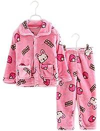 Los niños de franela suave pijama Pelele Pink conejo ropa de noche Nightcloth