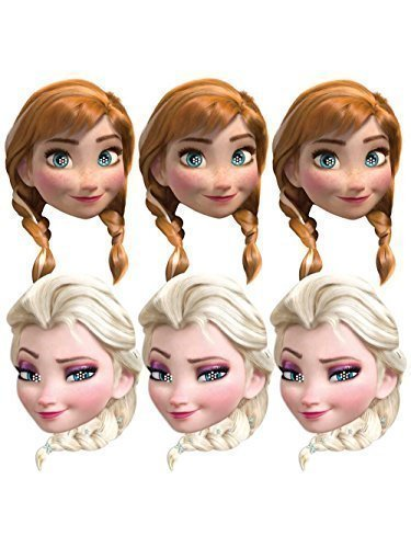 Procos 85967 - Máscaras de papel de Disney Frozen (Anna y Elsa), multicolor - 6 unidades