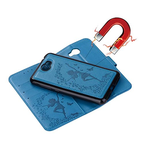 Abnehmbare 2 in 1 Crazy Horse Texture PU Ledertasche, Fairy Girl Embossed Pattern Flip Stand Case Tasche mit Lanyard & Card Cash Slots für Huawei Y5 II (2. Generation) ( Color : Red ) Blue