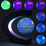 DAMPOG Floating Globe, Multi-Color Ändernde C-Form Magnetschwebebahn Floating Globe-Weltkarte mit LED-Leuchten für Kinder Geschenk Home Office Schreibtisch Dekoration