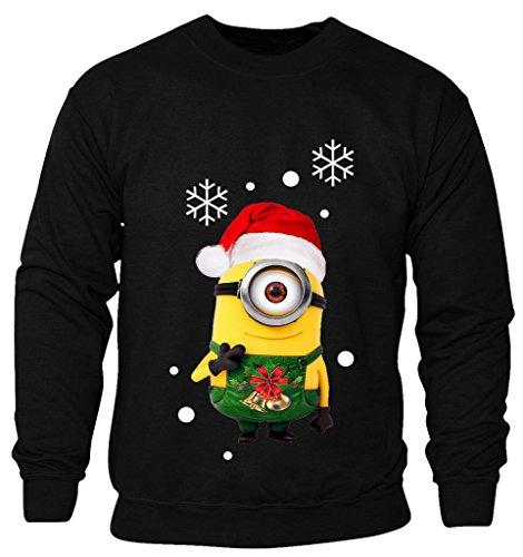 (New Kids Childrens Boys Girls Minions Cartoon Movie Character Christmas Sweatshirt Jumpers 2-14 years (Kids 13-14 Years) Black)