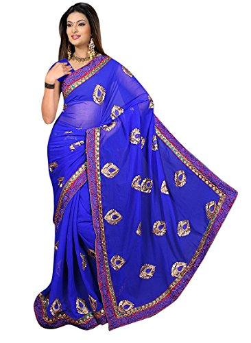 Sonaria Sarees presents cobalt bluechiffon saree with multi color border & blue & gold embroidery