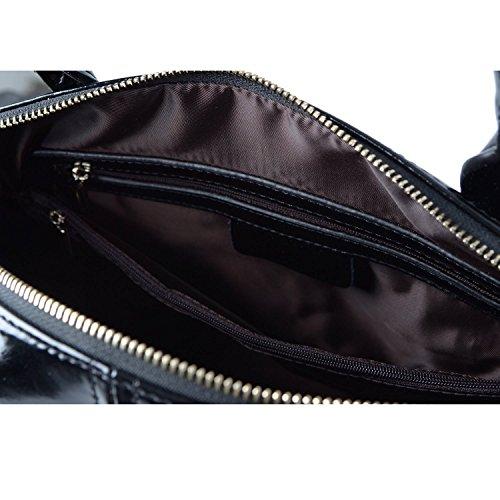 Hermiona Ladies' Genuine Leather Tote Bag Shoulder Bag Top Handle Handbags Black