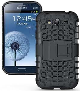 Wellmart Hybrid Defender Military Grade Armor Kick Stand Back Case Cover for Samsung Galaxy Grand I9082 (Black)