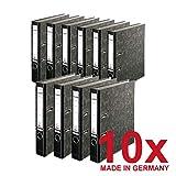 Falken 10er Pack Recycling Plus Ordner Wolkenmarmor 5 cm schmal DIN A4 schwarzer Rücken mit Wechselfenster Ringordner Aktenordner Briefordner Büroordner Pappordner Schlitzordner