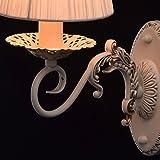 Elegante kompakte Wandleuchte 1-flammig barock Bettlampe Metall beige mit Goldfarbe patiniert weißer Textilschirm indirektes diffuses Licht für Wohnzimmer Esszimmer Schlafzimmer exkl.1*40W E14 -