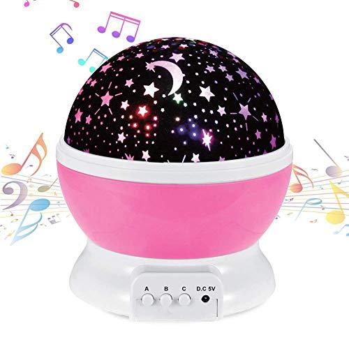 NEEGO Música Proyector Estrellas Bebe Luz de Noche Estrella Recargable Lampara Proyector Estrellas Bebé 360° Rotación Luz Nocturna Infantil con 4 Color, Regalo para Niños Cumpleaños, Navidad (Rosa)