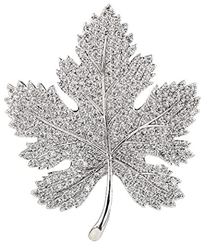 OKAJEWELRY Silver Plated Maple Leaf Brooch - AAA Micro Pave Zircon - White/Clear - Great Gift Idea