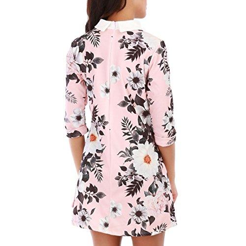La Modeuse - Robe courte à col chemise et manches3/4 Rose