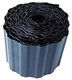 EXCOLO 9m Rasenkante 15 cm hoch Beeteinfassung Beetumrandung Rasenbegrenzung Raseneinfassung in schwarz/anthrazit trapez wellung