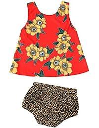 Koly Los pantalones cortos del leopardo de las tapas de la impresión floral del bebé de los cabritos fijaron trajes del juego