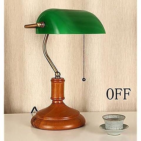 país de América madera retro minimalista verde esmeralda mesa de cristal de la lámpara dormitorio cuarto de televisión de estar lámpara de mesa de taller Biblioteca