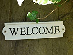 Welcome Metal Vintage Sign Wall Plaque Sign Welcome -Garden Door Gate Sign
