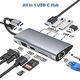 Hub USB C, adattatore hub di tipo C con VGA 1080P, jack audio da 3,5 mm, 4K HDMI, Ethernet RJ45, 4 porte USB 3.0 / 2.0, porta PD USB-C, hub lettore di schede SD / TF per Macbook, Dex e altro (grey)