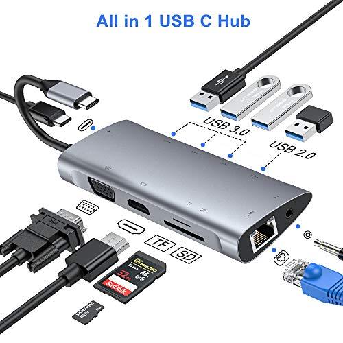 FLYLAND Hub USB C, Adaptador Tipo C Hub 1080P VGA