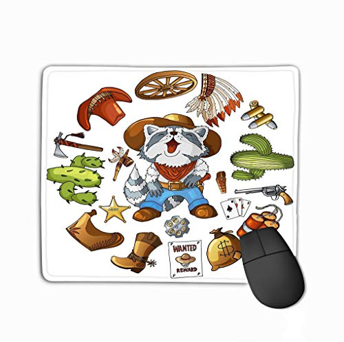 (Mouse Pad Cartoon Character American Raccoon Set Classic Western Items Round Design Print Cowboy Laughing Isolated White t Rectangle Rubber Mousepad 11.81 X 9.84 Inch)