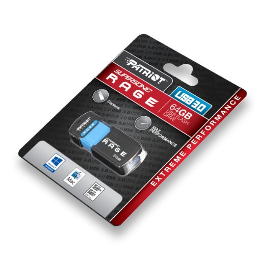 Patriot Memory Supersonic RAGE XT USB 3.0 - Memoria USB de 64 GB, negro