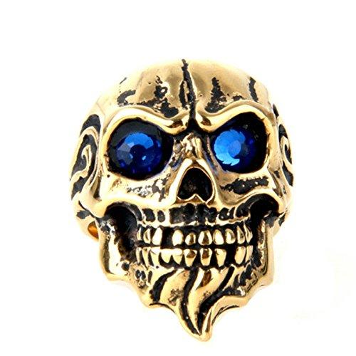 Blisfille Ringe Herren Goldring Schwarz Gold Bar Punk Flamme Schädel Toten Kopf Ringgröße 62 (19.7) Blau Zirkonia Gothic Retro Vintage Ringe