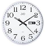 JVD HP671.1 Wanduhr Quarz analog weiß rund Datum leise ohne Ticken