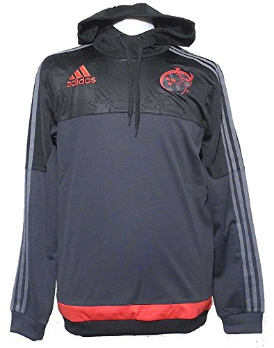 2015-2016 Munster Adidas Players Hooded Rugby Sweat (Black) Black