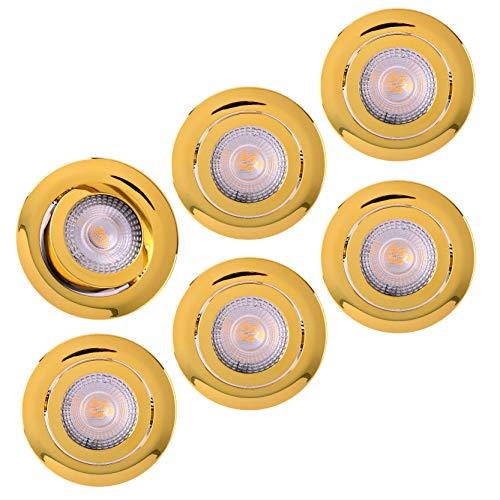 LED Einbaustrahler 6x Ultraflach 5 Watt Gold schwenkbar 230V Rund warmweiß Deckenstrahler Spot Deckenspot