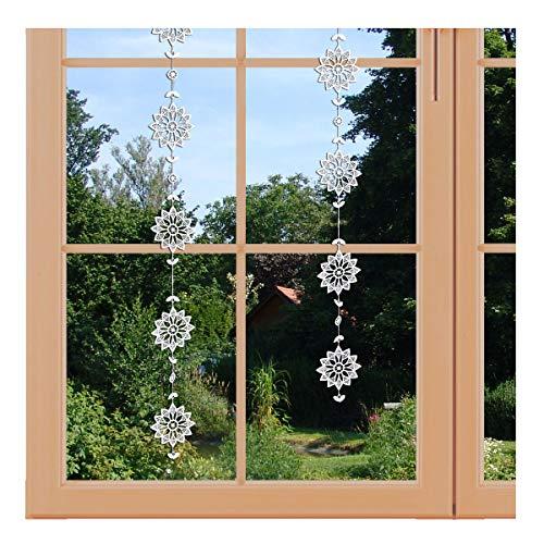 artex deko Girlande/Fensterbild Blütenstern Hochwertige Ganzjahres-Fensterdekoration aus Echter Plauener Spitze inkl. 2 Saughaken
