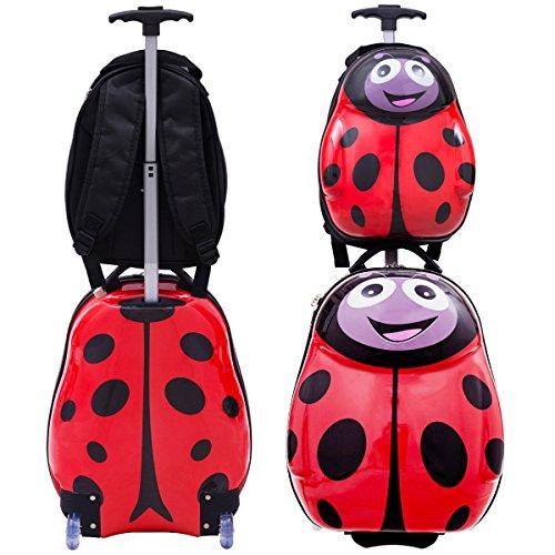 COSTWAY Kinderkoffer + Rucksack Kofferset Kindergepäck Reisegepäck Kindertrolley Kinderreisekoffer Hartschale Trolley Tiermotiv (Rot)