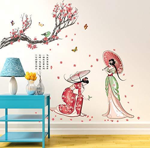 Kostüm Mensch Vogel - Kssim Retro Klassische Kostüm Schönheit Menschen Chinesischen StilWandaufkleber Kunst Aufkleber Blume Baum Dame Figur Schmetterling Vogel 140 * 110 Cm