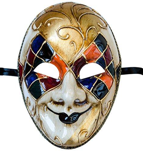 Preisvergleich Produktbild Lannakind Venezianische Maske Gesichtsmaske Joker Herren Karneval Fasching (J04 Mehrfarbig)
