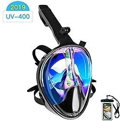 Arkmiido Masque de Plongée, Masque Plongée en apnée Plein Visage 180° Visible avec Support pour Caméra de Sport, Antibuée Anti-Fuite sous-Marine, Anti-UV,pour Les Adultes (L/XL)
