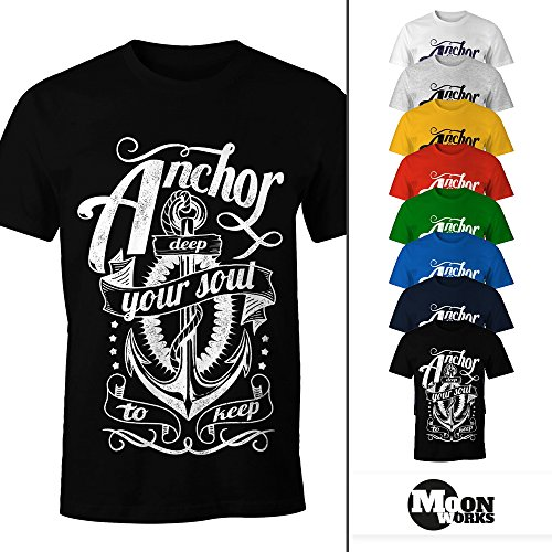 Herren T-Shirt - Anker Motiv Aufdruck Anchor your Soul Seemann - Moonworks Dunkelgrau