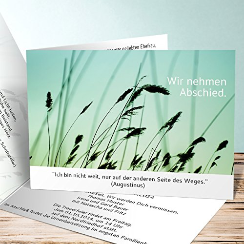 Einladungskarten Beerdigung, Kornfeld 55 Karten, Horizontale Klappkarte 148x105 inkl. weiße Umschläge, Weiß