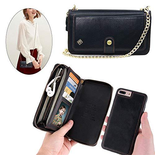Schutzhülle für iPhone XS/X - JAZ Crossbody Chain Satchel Zipper Geldbörse abnehmbare magnetische 14 Kartenfächer Momey Pocket Clutch Leder Wallet Case für Apple iPhone X/XS, iPhone 6/7/8, schwarz