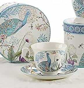 Delton Products Peacock Porcelain Tea Cup and Saucer in Gift Box