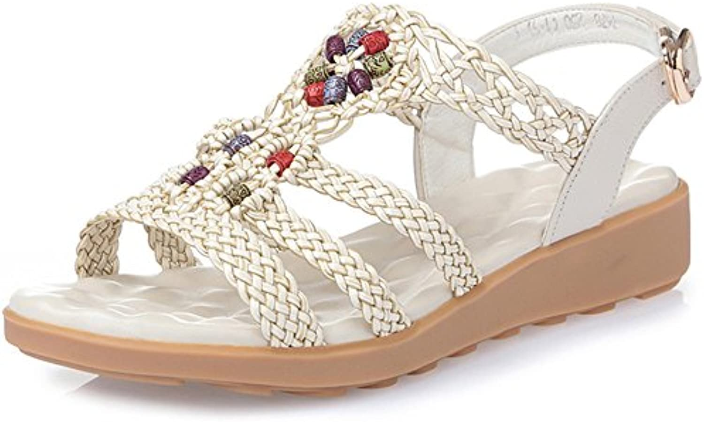 XIAOLIN Sandalias de verano Sandalias planas Piso talón inferior Estudiante Zapatos Cuero Sandalias inferiores...