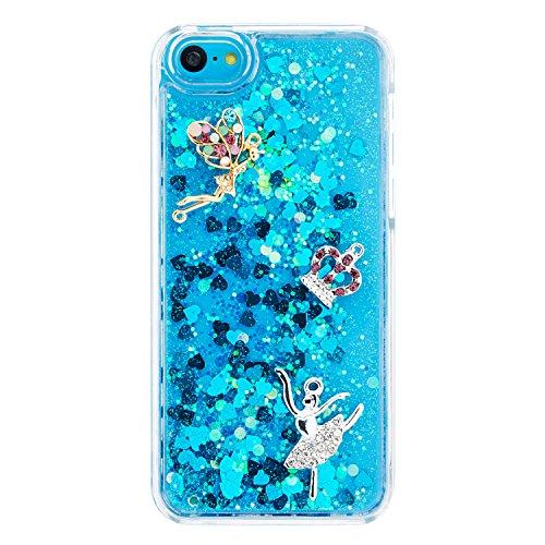 Coque iPhone 5C, iPhone 5C Cover Liquide, SainCat Ultra Slim Plastique Transparent Glitter Liquide Case pour iPhone 5C, Anti-Scratch Hard Housse Transparent Rigide Case, Support Protection Anti Choc S bleu#4