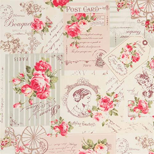 Cremefarbener Stoff mit Postkarten und Rosen von Quilt Gate -