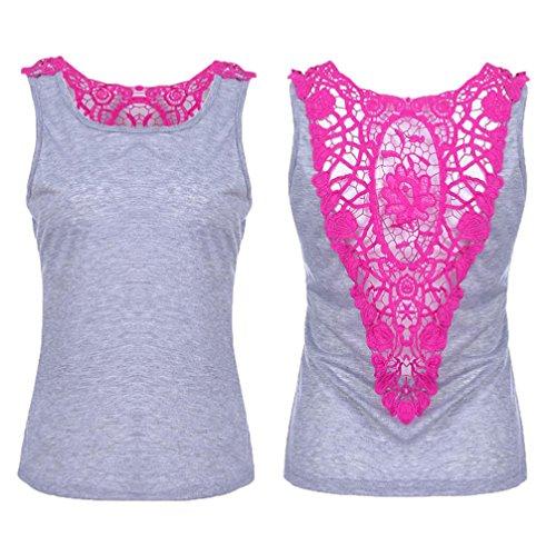 OSYARD Damen Lace Sleeveless Casual Weste Tank Tops Bluse Tunika T-Shirt(EU 42/XL, Grau)