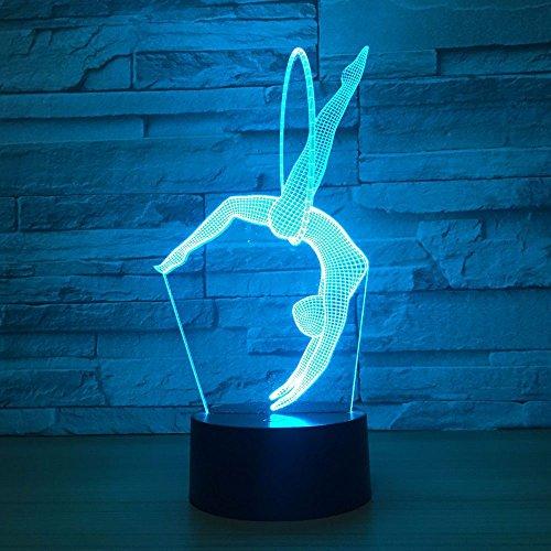 weiaikeke Gymnastik Stunt LED 3D Nachtlicht Kreative Schreibtischlampe Home Lighting Bulbing USB 7 Farbwechsel Luminaria Kids Gifts